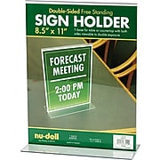 """NuDell™ T-Shaped Sign Holder, Clear, 8-1/2"""" x 11"""""""