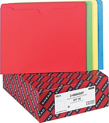 Smead® File Jacket, Reinforced Straight-Cut Tab, Flat-No Expansion, Letter Size, Assorted Colors, 100 per Box (75613)