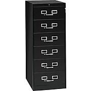 "Tennsco Media File Cabinet, 6-Drawer, Black, 52""H x 21""W x 28""D"