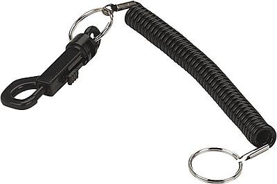 Coil Key Chain 'N Clip, 2 Key Rings, Black