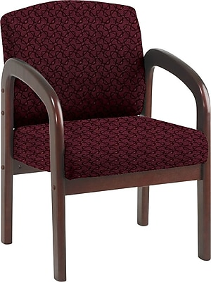 Office Star Custom Mahogany Wood Visitor's Chair, Inferno