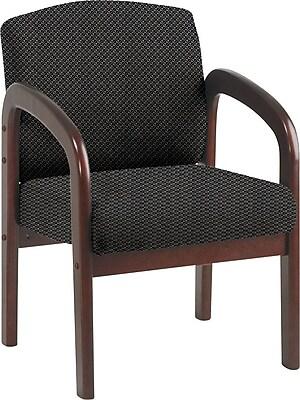 Office Star Custom Mahogany Wood Visitor's Chair, Shale
