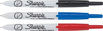 Sharpie® Retractable Permanent Markers, Ultra Fine Point, Assorted, 3/pk (1735794)