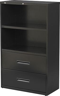 Hirsh 2 Drawer Lateral File Cabinet/Bookcase, Letter/Legal, 2 Drawer, 2 Shelf, Black, 36