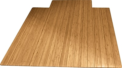 Anji Mountain Roll-Up 48''x35.63'' Bamboo Chair Mat for Carpet, Rectangular w/Lip, Natural (AMB24003)