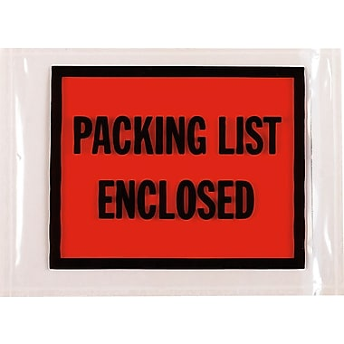 Packing List Envelopes, English Full Face Style, Packing List Enclosed, Red/Black, 4-1/2