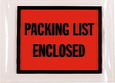 Packing List Enclosed Envelopes, Full-Face Style, 07