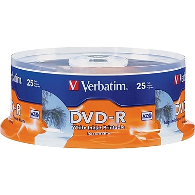 Verbatim® 4.7GB DVD-R, 16x, White Printable, 25-Pack Spindle