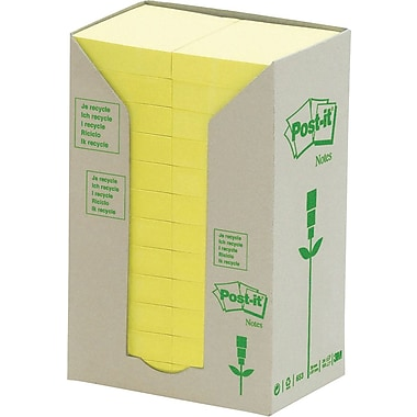 Post-it® - Feuillets recyclés en tour jaune canari, 1,5 x 2 po, paq./24 blocs