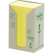 """Post-it® Recycled Canary Yellow Towers, 1.5"""" x 2"""", 24 pads/pack"""