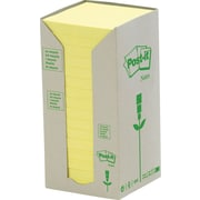 """Post-it® Recycled Canary Yellow Towers, 3"""" x 3"""", 16 pads/pack"""