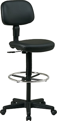 Office Star™ Faux Leather Drafting Chair, Black