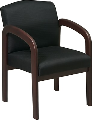 Office Star™ Wood Guest Chair, Espresso Finish Wood with Black Fabric