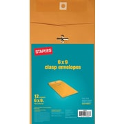 Staples Kraft Clasp Envelopes, Brown, 12/Pack (594411/19003)