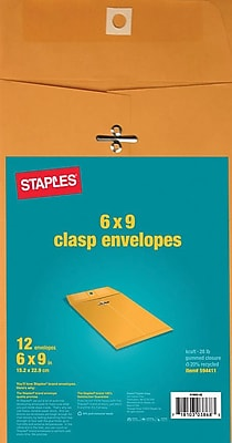 Staples Kraft Clasp Envelopes, Brown, 12/Pack (594411/19003)
