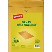"Staples Clasp & Moistenable Glue Catalog Envelopes, 10""L x 13""H, Brown, 12/Pack (19005/594413)"