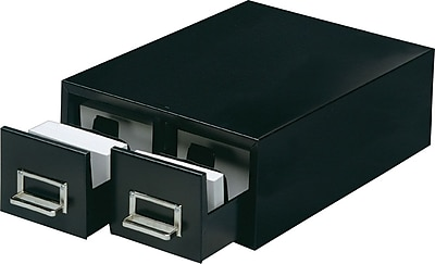 MMF Industries™ STEELMASTER® Card File Drawers, Black, Double, 5 1/4