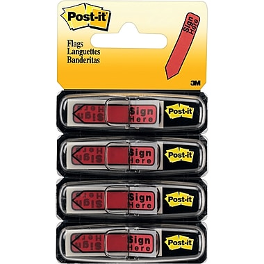 Post-it® - Languettes, fléchettes « Sign Here », 1/2 po, rouges, paq./80