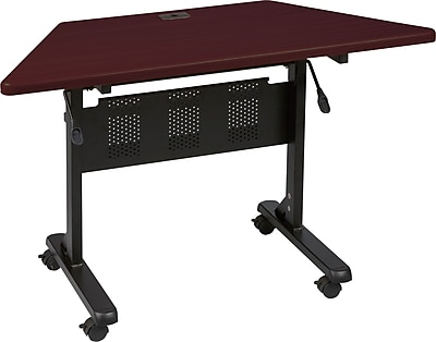 Balt 51.25'' Trapezoid Flip Top Training Table, Mahogany (89878)