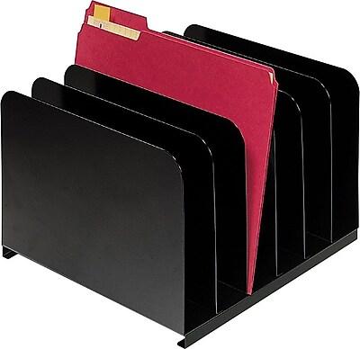 SteelMaster® Steel Vertical Organizer, 6 Compartments, Black