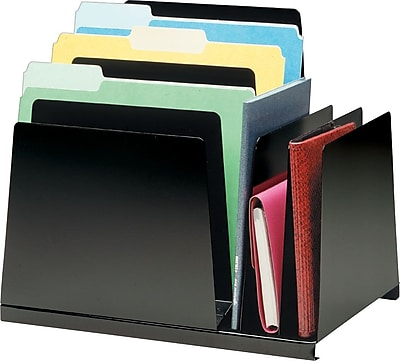 STEELMASTER® Slanted Combination Organizer, 5 Horizontal/3 Vertical Compartments, Black (2648S2VBK)