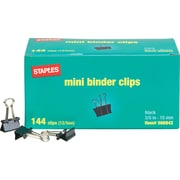 "Staples® Mini Metal Binder Clips Bulk Pack, Black, 3/5"" Size with 1/4"" Capacity"