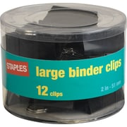 "Staples® Large Metal Binder Clips, Black, 2"" Size with 1"" Capacity"