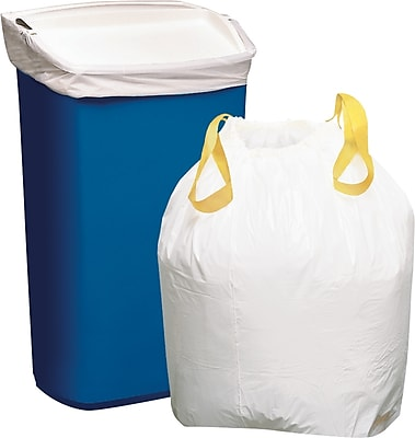 Staples Trash Bags, Drawstring, White, 13 Gallon, 50 Bags/Box