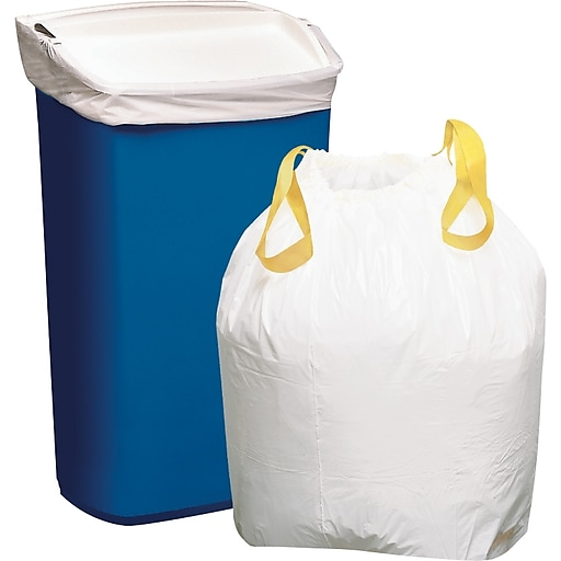 Staples Drawstring Kitchen Trash Bags Stretchable Strength White 13 Gallon Capacity 50 Box 20966 Cc