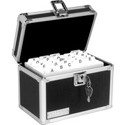 "Vaultz Locking Card File Box, Holds 4"" x 6"" Cards, 450-Card Capacity, Black/Silver"