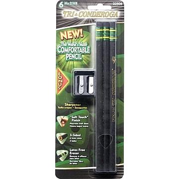 Dixon® Tri-Conderoga® Triangular Black Woodcase Pencils with Bonus Manual Pencils Sharpener, #2 Soft, 6/Pack