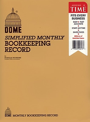 Dome Simple Monthly Bookkeeping Accounting Record Book, 128 Sheets