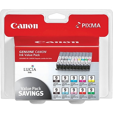 Canon PGI-9 MBK/PBK Black and C/M/Y/GY/PC/PM/R/G Color Ink Cartridges (1033B005), Combo 10/Pack