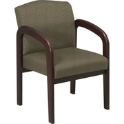 Office Star™ Custom  Wood Guest Chair, Espresso Finish Wood with Gold Dust Fabric