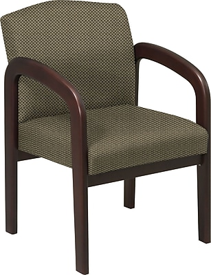Office Star Custom Wood Guest Chair, Espresso Finish Wood with Gold Dust Fabric