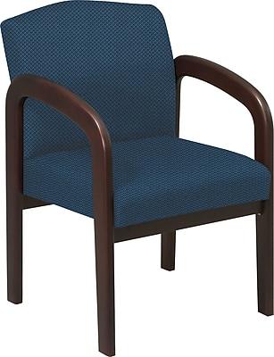 Office Star™ Custom Wood Guest Chair, Espresso Finish Wood with Blue Galaxy Fabric