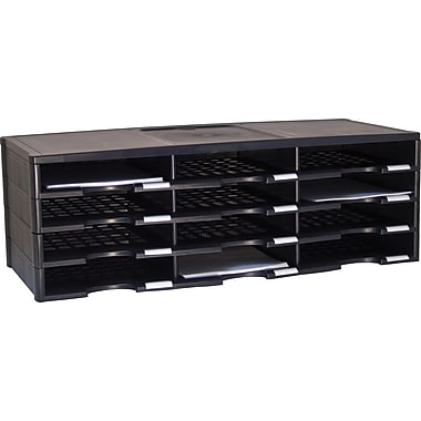 Storex 12-Compartment Literature Organizer, Black