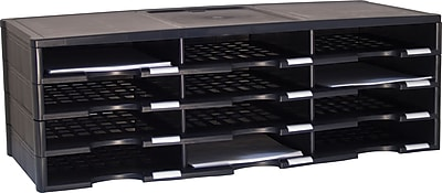 Storex 12-Compartment Literature Organizer, Black (61432U01C)