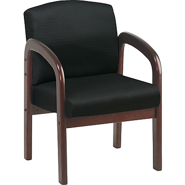 Office Star™ Wood Guest Chair, Mahogany Finish Wood with Black Fabric