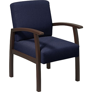 Office Star Blue Fabric with Espresso Finish Wood Guest Chair