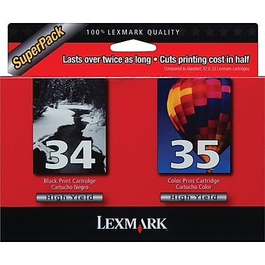 Lexmark 34/35 Black and Color Ink Cartridges (18C0535), High Yield 2/Pack