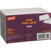 "Staples 3"" x 5"" Line Ruled White Index Cards, 500/Pack (23634/40801)"