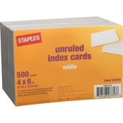 "Staples 4"" x 6"" Unruled White Index Cards, 500/Pack (23632/40802)"
