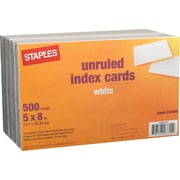 "Staples® 5"" x 8"" Unruled White Index Cards, 500/Pack"