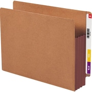 """Smead® Extra Wide Redrope End Tab File Pockets with Reinforced Tab and Colored Gusset, 3-1/2"""" Expansion, Letter, 10/Box"""