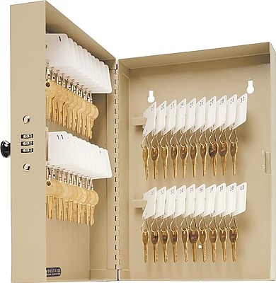 MMF Industries™ STEELMASTER® 40-Key Cabinet with Combination Lock, Sand, 11 3/8