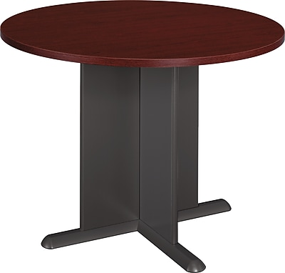 Bush Business Westfield 42W Round Conference Table; Cherry Mahogany/Graphite Gray, Installed