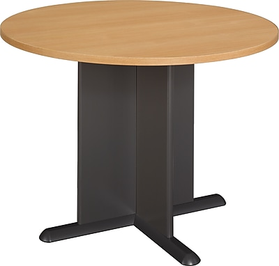Bush Business Westfield 42W Round Conference Table, Danish Oak/Graphite Gray