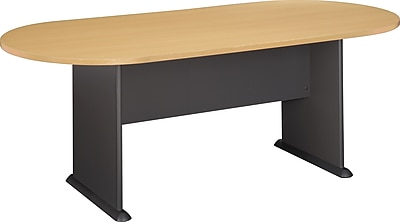 Bush Business Westfield 82W x 35D Racetrack Conference Table, Euro Beech/Graphite Gray