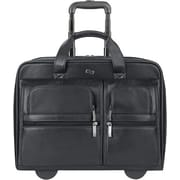 Solo Classic Black Leather Rolling Laptop Case (D957-4)